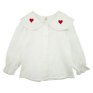 Toddler Girls Long Sleeve White Button-Down Blouse